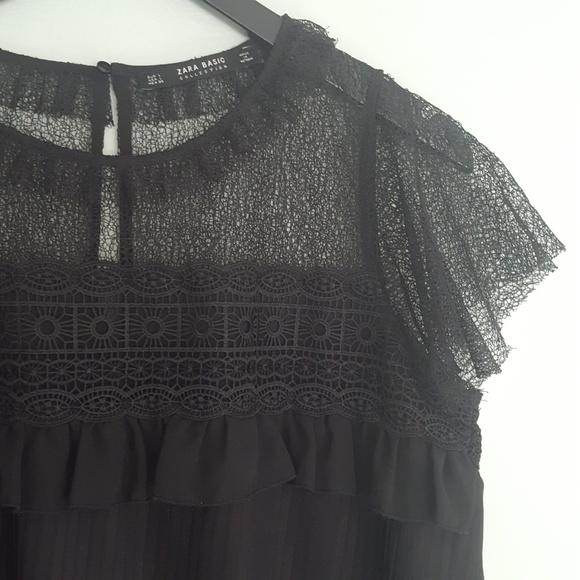 a0ec5aa0 Zara Tops | Black Pleated High Neck Blouse Lace Detail | Poshmark
